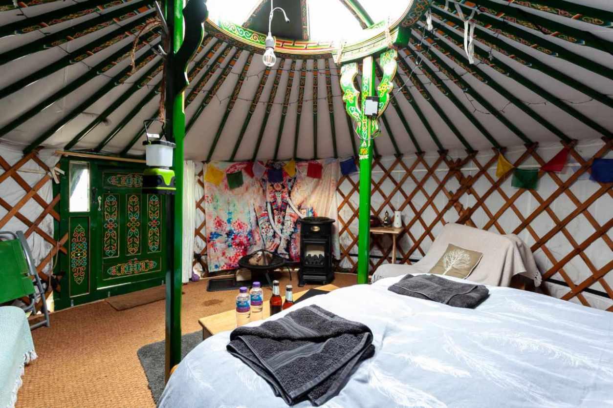 interior-of-peak-yurt-with-double-bed