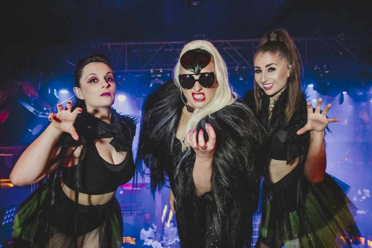 three-female-performers-at-go-gaga-bottomless-brunch-show