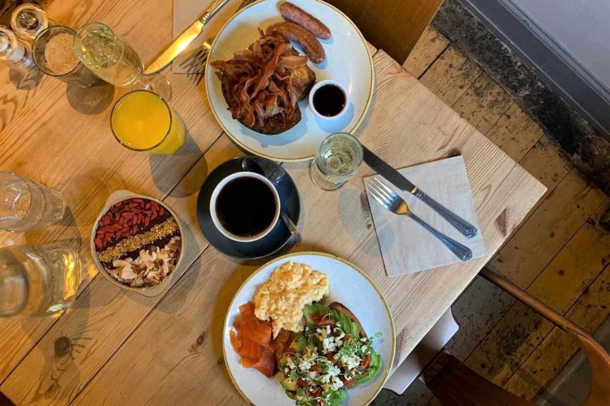 two-plates-of-breakfast-food-at-urban-angel-cafe-best-brunch-in-edinburgh
