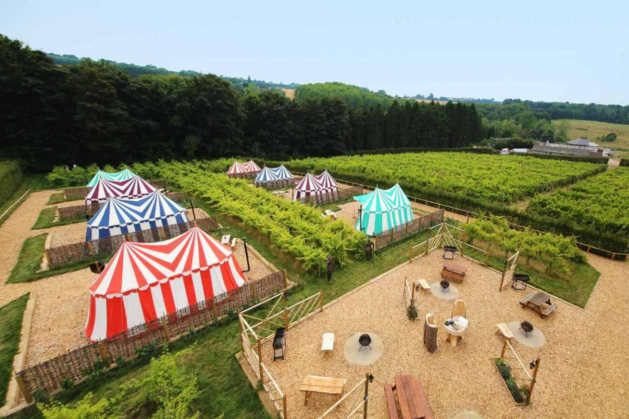 aerial-view-of-leeds-castle-knights-glamping-tents-glamping-kent