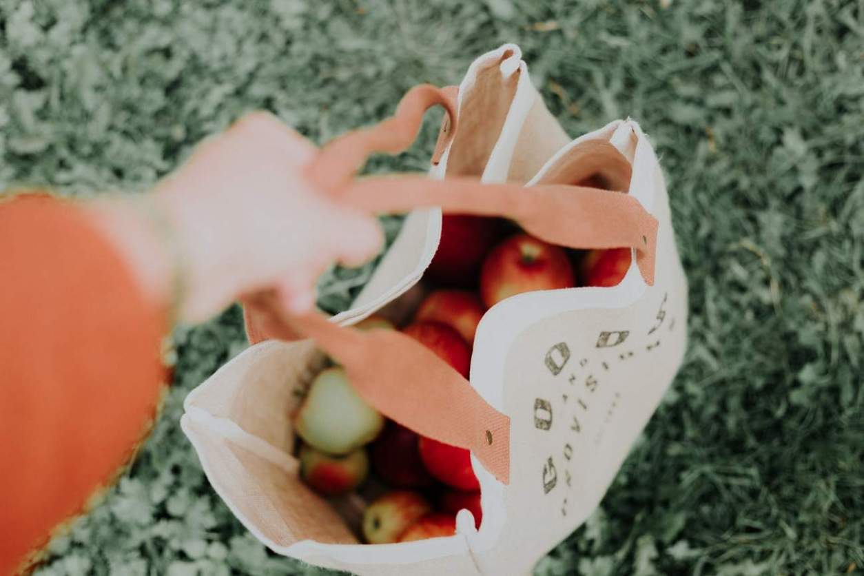hand-holding-a-burlap-bag-of-apples