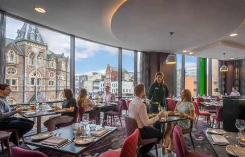people-dining-inside-clayton-hotel-restaurant-bottomless-brunch-cardiff