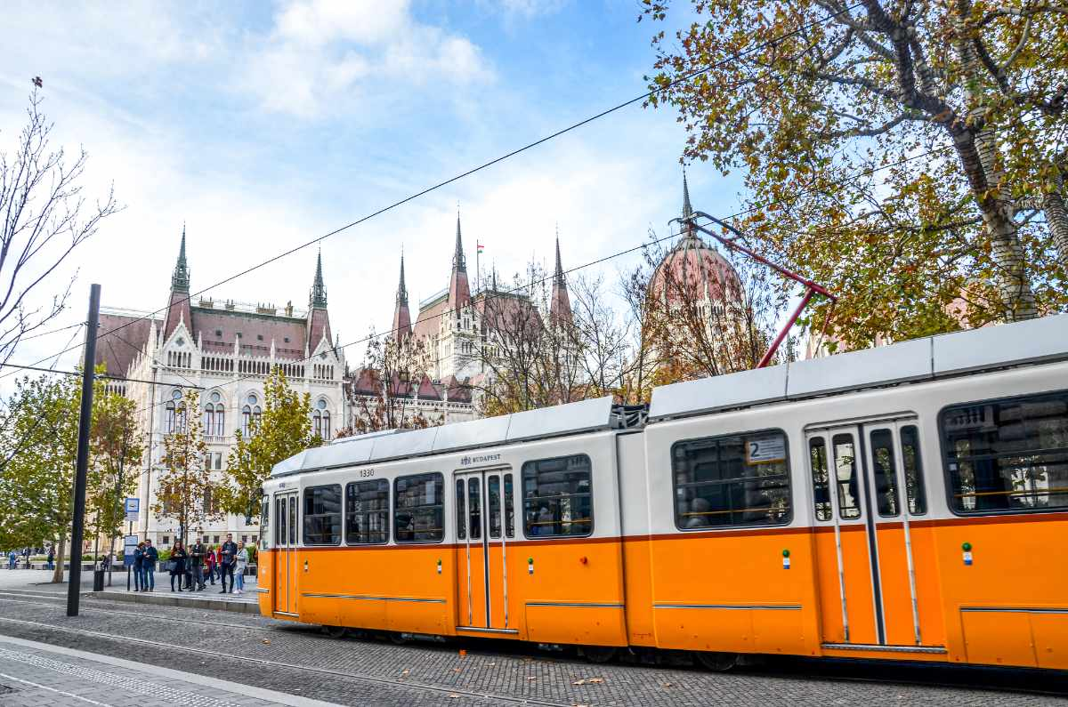 public-yellow-tram-in-front-of-hungarian-parliament-building