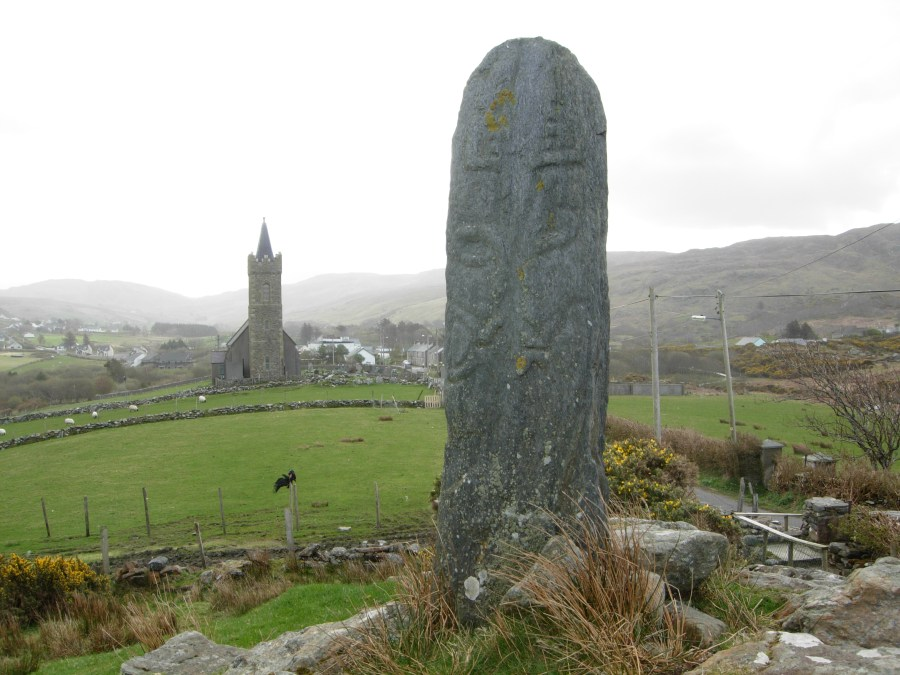 Decorated stone outside Glencolmcille
