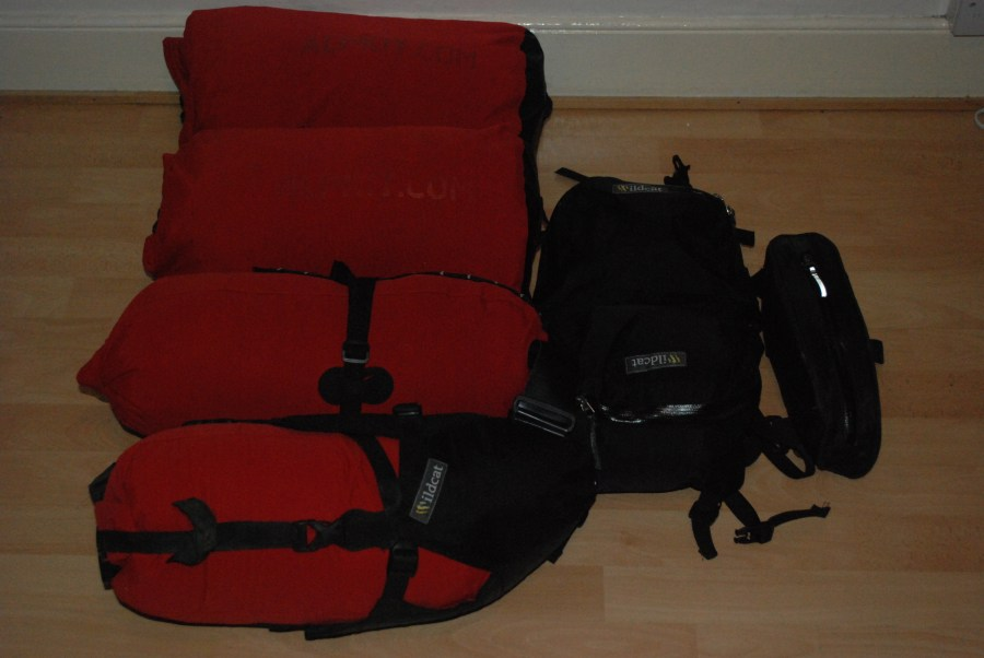 Packed Alpkit dry bags