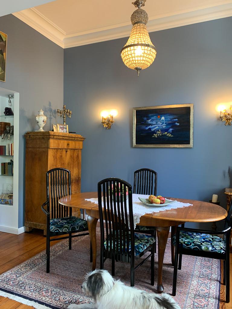 der blaue Salon als Esszimmer
