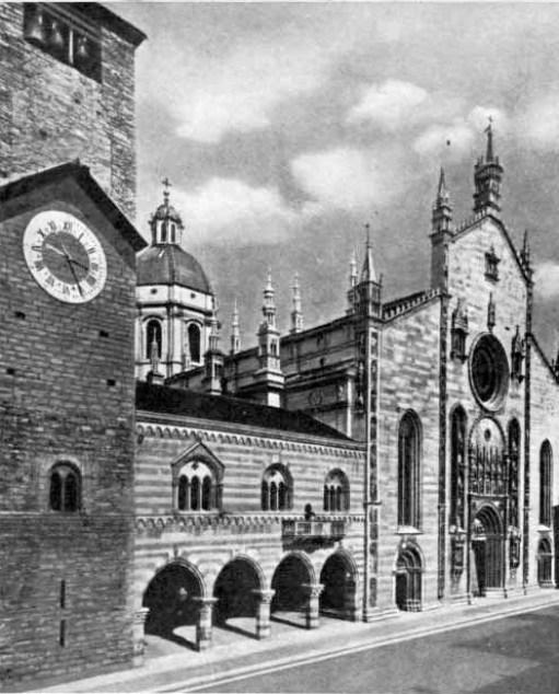 Torre Civica, Broletto e Cattedrale di Como in una stampa d'epoca