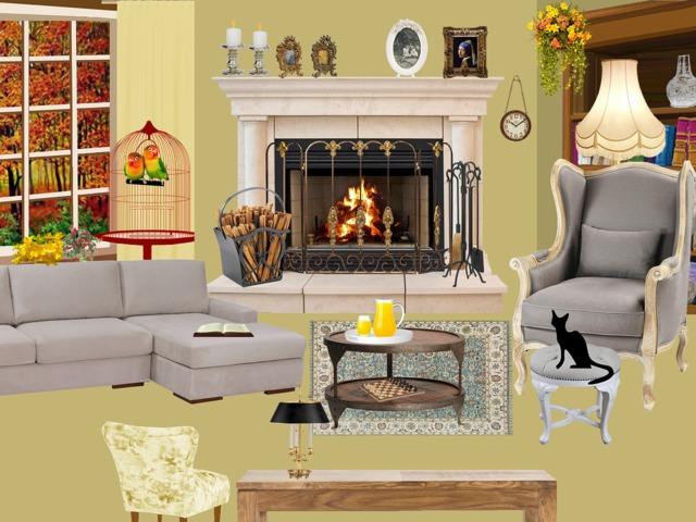 Rappresentazione di un caldo soggiorno con gatto e caminetto