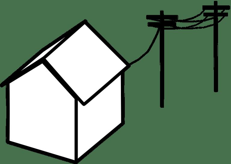 Disegno stilizzato di una casa collegata ai pali della corrente elettrica