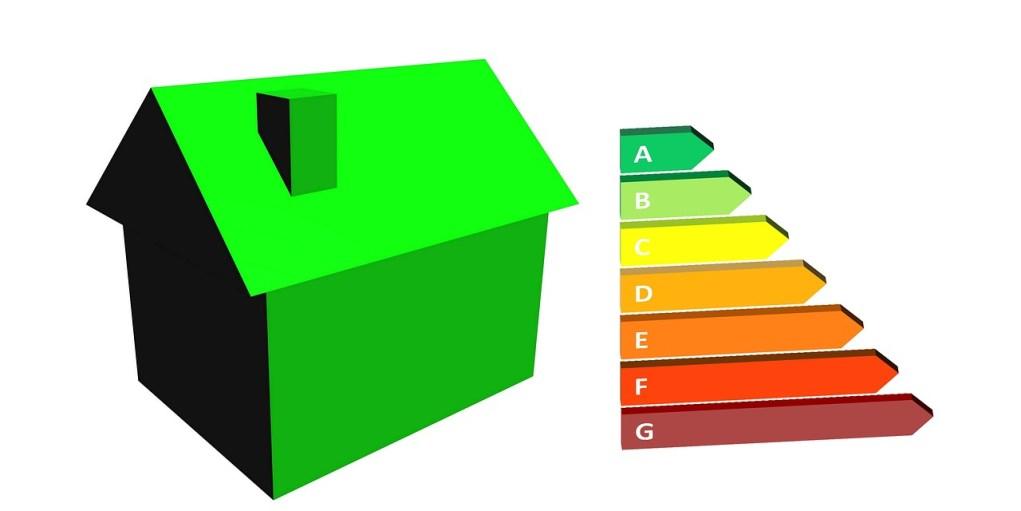 Disegno di una casa affiancata dal grafico delle classi energetiche