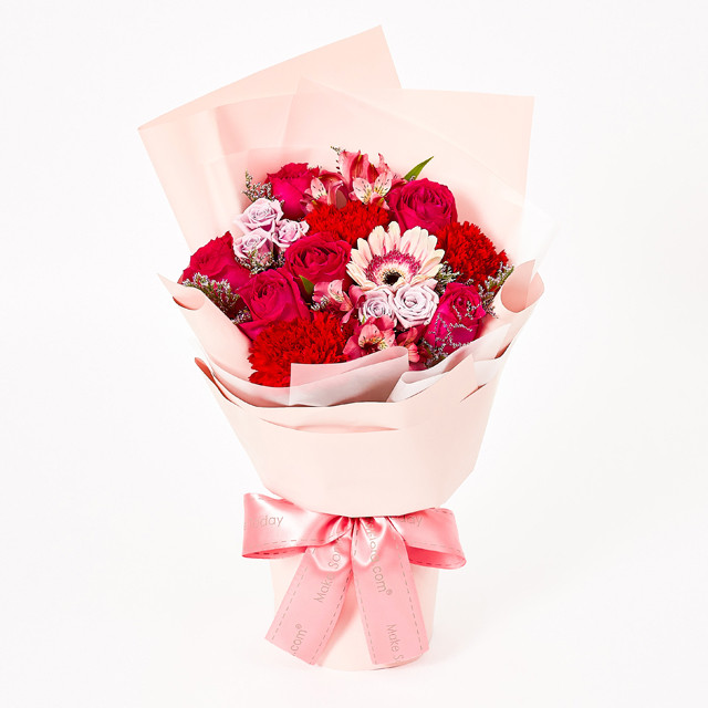 red carnation and roses bouquet popular flowers
