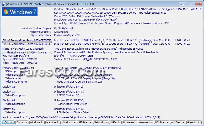 برنامج لعرض معلومات نظامك وحسابك بالتفصيل SIV (System Information Viewer) (2)