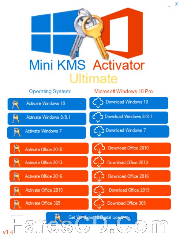 أداة تفعيل الويندوز والأوفيس | Windows and Office Mini KMS Activator 1.4