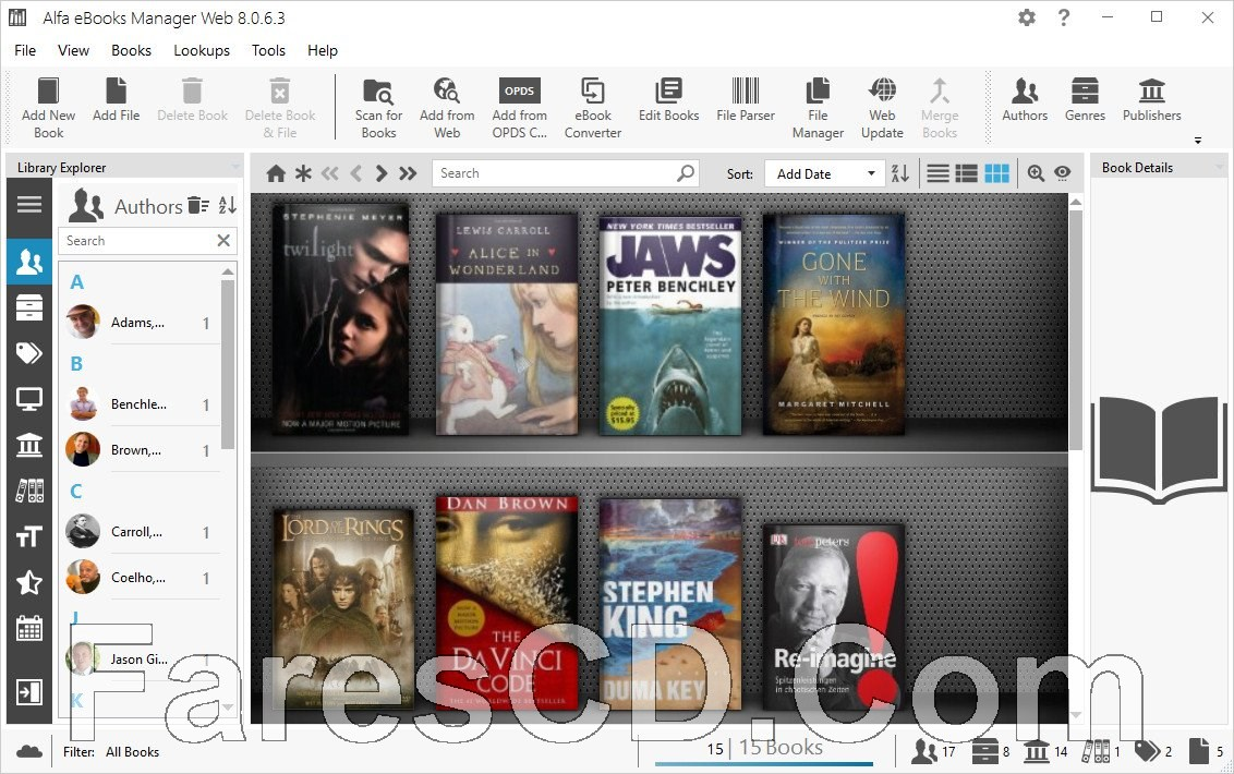 برنامج إنشاء مكتبة للكتب الإليكترونية | Alfa eBooks Manager Web