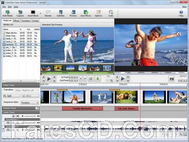 برنامج مونتاج الفيديو البسيط | NCH VideoPad Video Editor Professional 7.22 Beta
