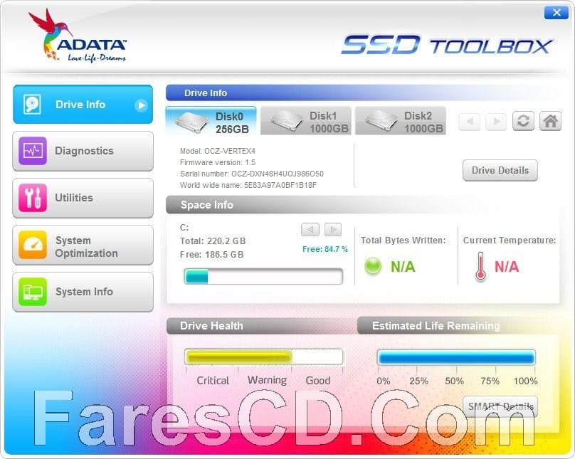 برنامج تحسين وإدارة هاردات إس إس دى | ADATA SSD ToolBox