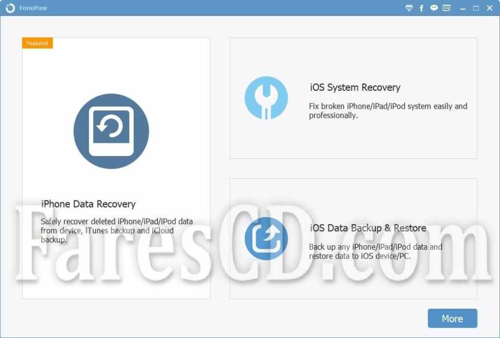 برنامج استعادة المحذوفات من الايفون   FonePaw iPhone Data Recovery