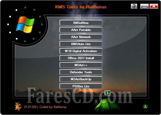 تجميعة تفعيلات الويندوز والأوفيس | Ratiborus KMS Tools