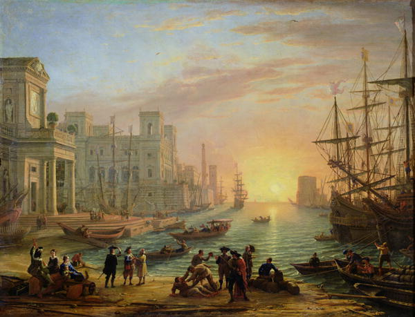 Port de mer soleil couchant, Claudio de Lorena, Louvre Museum