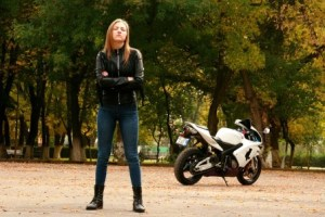 woman wearing  motorcycle jackets