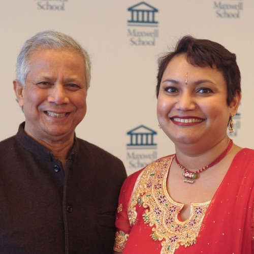 Dr. Farhana Sultana with Dr. Muhammad Yunus, Nobel Peace Laureate and founder of Grameen Bank in 2010