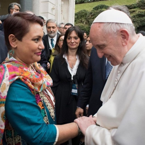 Dr. Farhana Sultana with His Holiness Pope Francis at a workshop at The Vatican, 2017