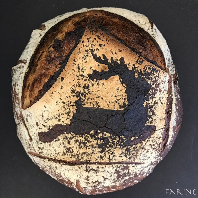Seaweed bread with stencil