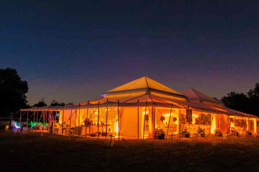 party marquee on lawn at night