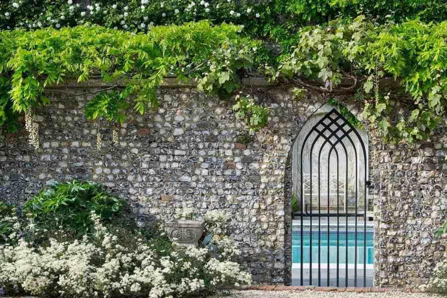 Farleigh Wallop Garden Gate and Flint wall