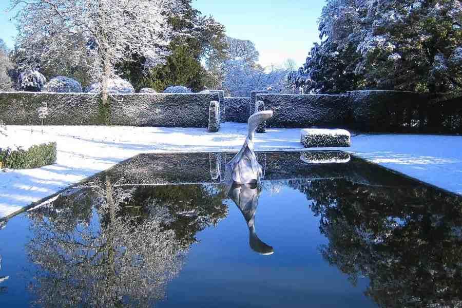 sculpture pond in winter