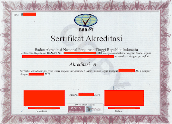 contoh akreditasi ban-pt