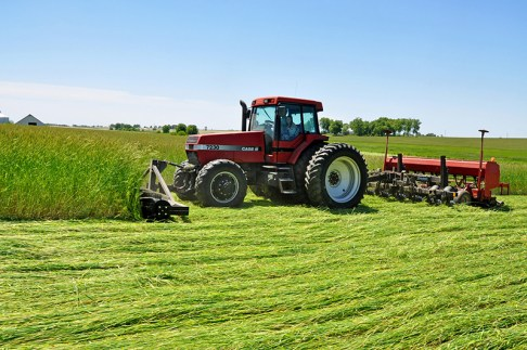 Think about how you'll terminate your cover and plant your cash crop next spring. Using a roller crimper with a no-till drill is just one option. Photo Credit: Jason Johnson, USDA's Natural Resources Conservation Service