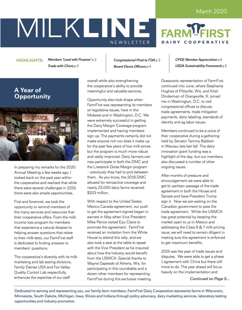March 2020 MilkLine Newsletter