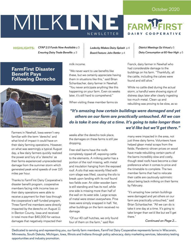 October 2020 MilkLine Newsletter