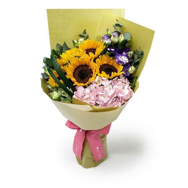 ultimate joy 5 sunflower 1 pink hydrangea by farm florist singapore