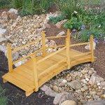 Best-Choice-Products-Wooden-Bridge-5-Natural-Finish-Decorative-Solid-Wood-Garden-Pond-Bridge-New-0-0
