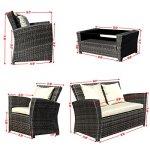 Goplus-4-PCS-Brown-Wicker-Cushioned-Rattan-Patio-Set-Garden-Lawn-Sofa-Furniture-Seat-0-1