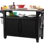 Keter-Unity-XL-Indoor-Outdoor-Entertainment-BBQ-Storage-Table-Prep-Station-Serving-Cart-with-Metal-Top-0-0