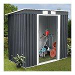 4X7-Outdoor-Garden-Storage-Shed-Tool-House-Sliding-Door-Metal-Dark-Gray-New-0