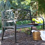 Traditional-Scrolling-Hearts-Curved-Back-Metal-Garden-Bench-Blackened-and-Polished-in-Weathered-Bronze-Slatted-Comfortable-Seat-Powder-Coated-Tubular-Steel-Classic-for-All-Weather-0