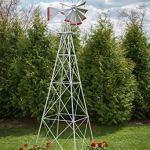 12-Ft-Premium-Aluminum-Decorative-Garden-Windmill-Red-Trim-0