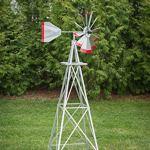6-Ft-Premium-Aluminum-Decorative-Garden-Windmill-Red-Trim-0
