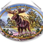 Amia-Oval-Suncatcher-with-Moose-Design-Hand-Painted-Glass-6-12-Inch-by-9-Inch-0
