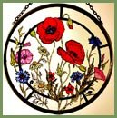 Decorative-Hand-Painted-Stained-Glass-Window-Sun-CatcherRoundel-in-a-Cornfield-Flowers-Design-0