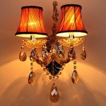 Generic-Crystals-Chandelier-2-Porch-Pendant-Lights-with-Lampshade-Color-Cognac-0