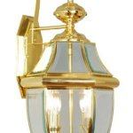 Livex-Lighting-2251-02-Monterey-2-Light-Outdoor-Polished-Brass-Finish-Solid-Brass-Wall-Lantern-with-Clear-Beveled-Glass-by-Livex-Lighting-0