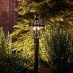 Luxury-Colonial-Outdoor-Post-Light-Large-Size-21H-x-11W-with-Tudor-Style-Elements-Versatile-Design-High-End-Black-Silk-Finish-and-Beveled-Glass-UQL1148-by-Urban-Ambiance-0-0