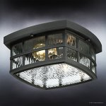 Luxury-Craftsman-Outdoor-Ceiling-Light-Small-Size-575H-x-12W-with-Tudor-Style-Elements-Highly-Detailed-Design-High-End-Black-Silk-Finish-and-Water-Glass-UQL1248-by-Urban-Ambiance-0-1