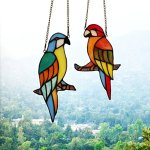 Makenier-Tiffany-Style-Stained-Glass-Red-and-Blue-Parrots-Window-Hanging-Sun-Catcher-0-0