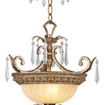 Pendants-Porch-2-Light-with-Hand-Crafted-Gold-Dusted-Glass-Hand-Painted-Vintage-Gold-Leaf-Size-16-in-120-Watts-World-of-Crystal-0